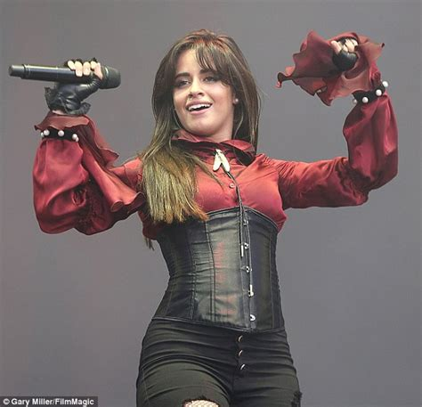 Camila Cabello Dons Burgundy Blouse Beneath Corset