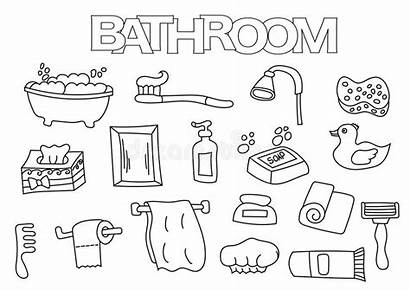 Bathroom Coloring Outline Hand Template Elements Drawn