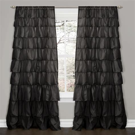 Ruffle Blackout Curtain Panels by Lush Decor Black 84 Inch Ruffle Curtain Panel
