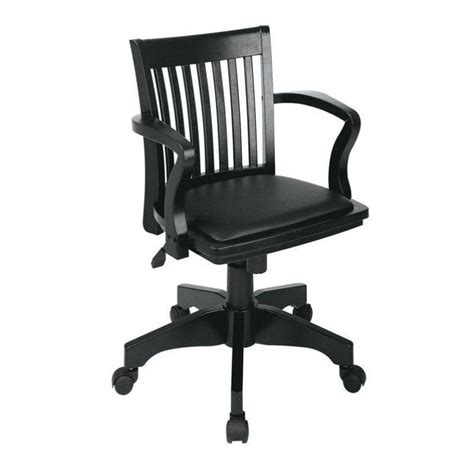 wood bankers arm office chair with vinyl padded seat 108fw