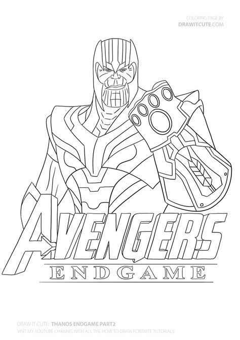 draw thanos step  step guide  coloring page