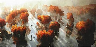 Dragon Train Animated Movies Concept Landscape Sun