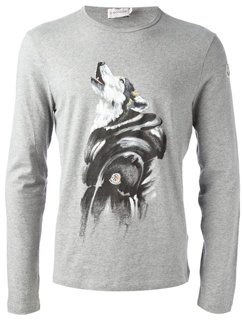 wolf sweater lyst moncler wolf print sweater in gray for