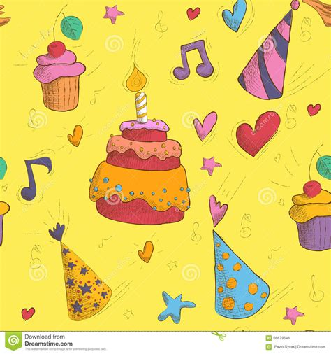 happy birthday seamless pattern with cake stock vector
