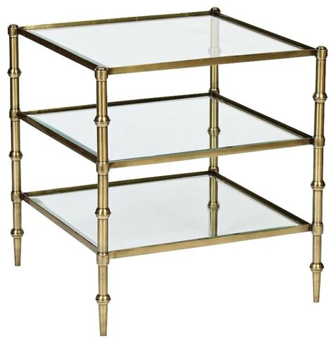 square brass side table caper tiered square glass antique brass side table