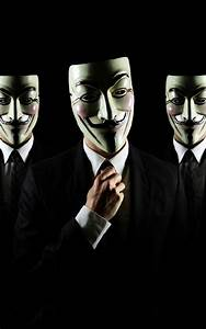 Anonymous Masks Black Suit Android Wallpaper free download