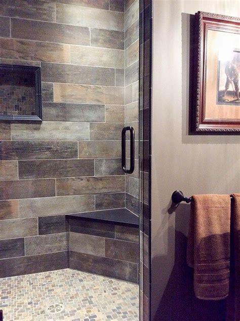 brown  gray bathroom   warm rustic vibe