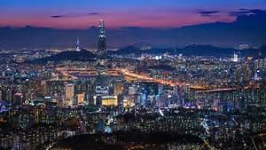 Beautiful City In Night, Cityscape Of Seoul, South Korea ...