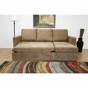 Linden tan microfiber convertible sectional sofa bed for Sectional sofa that converts to bed