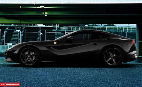 Ferrari F12 Black With Vossen Wheels Side View By