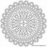 Coloring Compass Mandala Geometry sketch template
