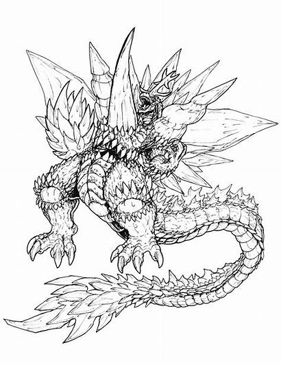 Godzilla Coloring Colouring Space Printable Ultimate Monsters