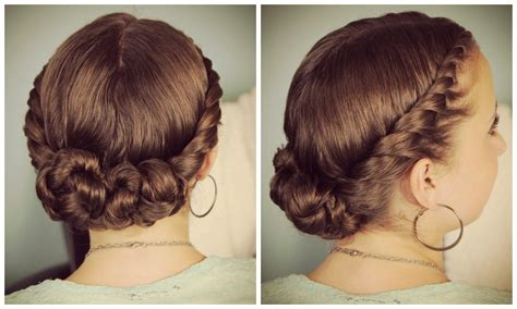double twist bun updo homecoming hairstyles cute girls