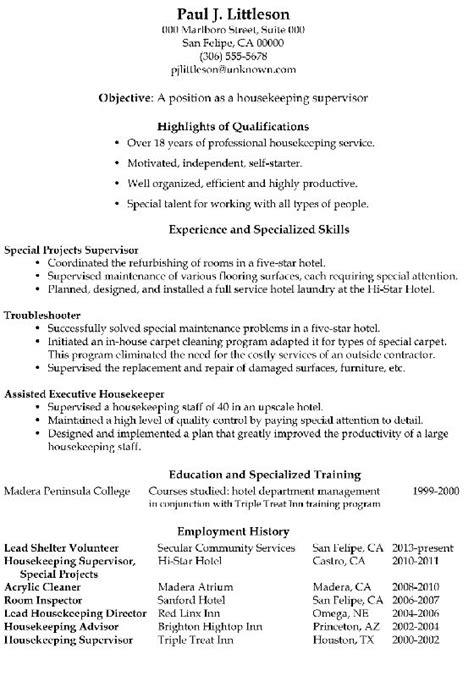 resume sample housekeeping supervisor  images