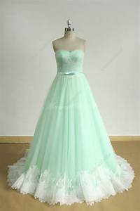 romantic mint green a line tulle lace wedding dress With mint wedding dress