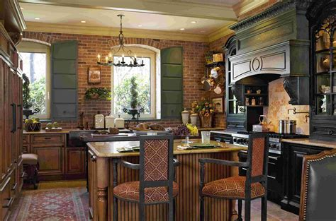 Comfortable French Country Kitchen Warming Interior Space