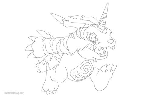 Digimon Coloring Pages Gabumon Fanart By Inukawaiilover
