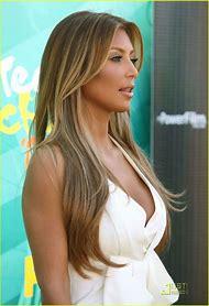 Kim Kardashian Brown Hair with Blonde Highlights