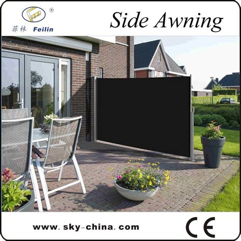 outdoor retractable wind screen side awning for balcony