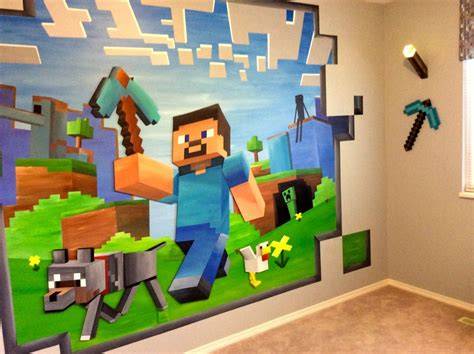 Minecraft Themed Bedroom Wallpaper by 14ft X 8ft Custom Minecraft Mural S Room
