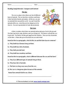 reading comprehension compare and contrast 2nd 3rd grade worksheet lesson planet