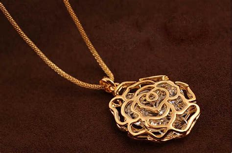 women charms hollow rose flowers design pendant rose gold silver necklace new in pendants from