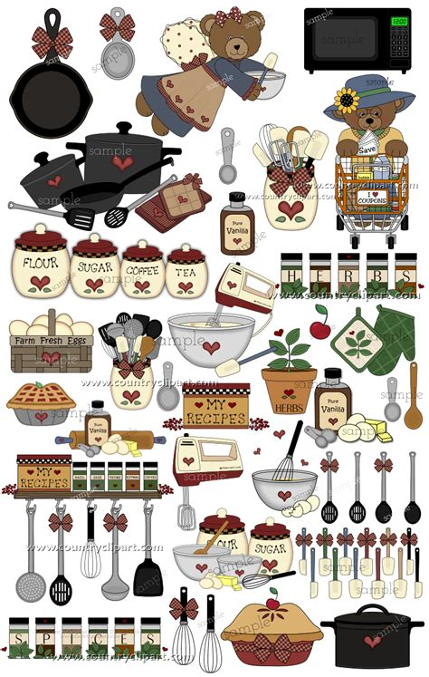 country kitchen cooking graphics  clipart collection