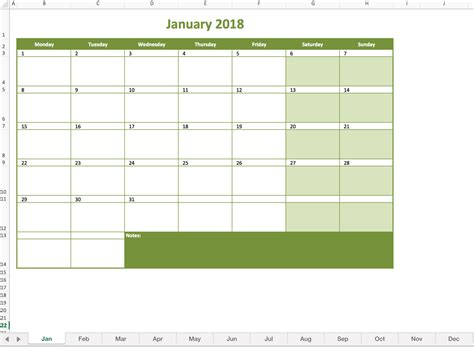 2018 Calendar Template Excel Monthly Calendar 2018 Excel Templates For Every Purpose