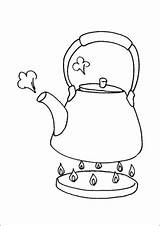 Stove Coloring Teapot Kitchen Pages Printable sketch template