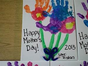Handprint Mother's Day craft on canvas with tempera paint ...