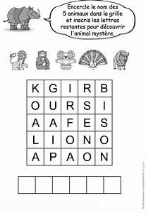 Jeux Enfant 4 Ans : encercle le nom des 5 animaux dans la grille et trouve le ~ Dode.kayakingforconservation.com Idées de Décoration