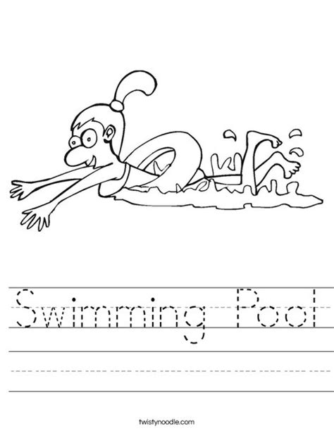 swimming pool worksheet twisty noodle