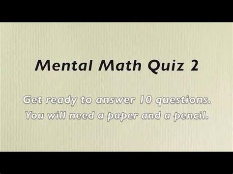mental math quiz  grades    math numeracy skills