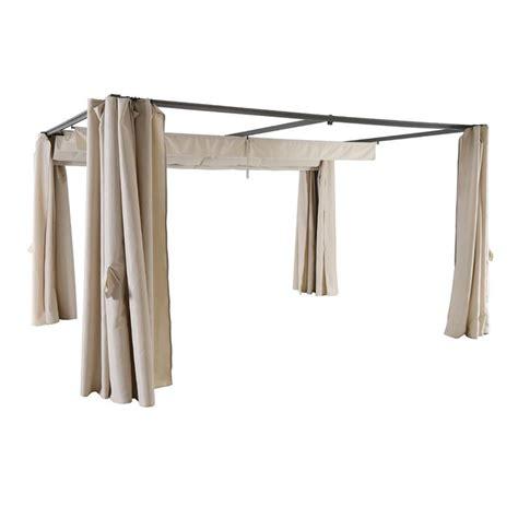 lot de 4 rideaux de tonnelle palmeira 3 x 3 m sable