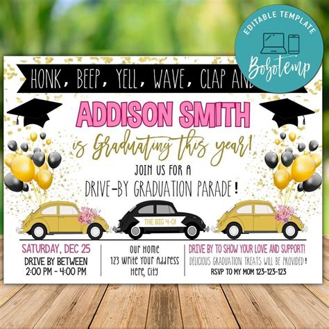 Printable Graduation Car Parade Invitation Template DIY
