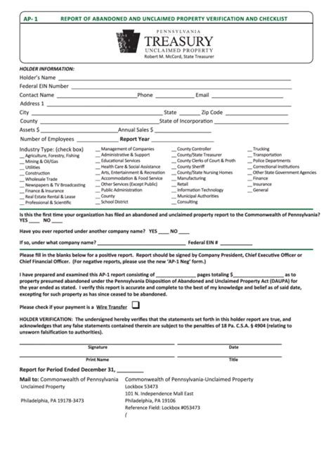 fillable form ap  report  abandoned  unclaimed