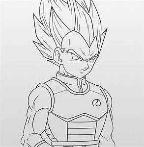 Dragon Ball Z | Super Saiyan Blue Vegeta LineArt by ...