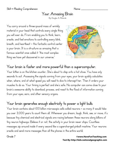 reading comprehension worksheet your amazing brain