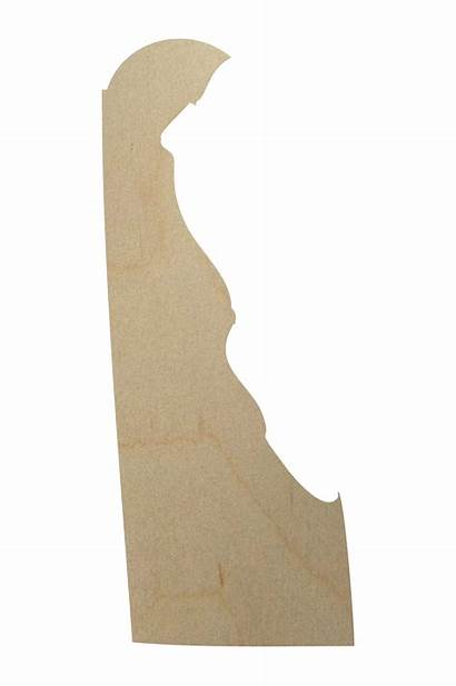 Delaware State Shape Wood Cutout Map Counties