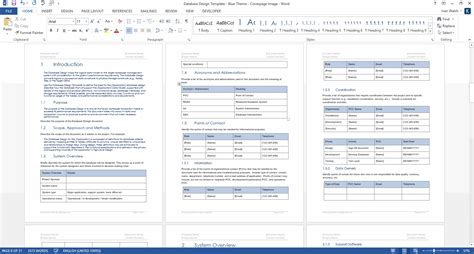 Template Word Database Design Document Ms Word Template Ms Excel Data