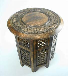 beautiful round brown white hand carved indian wooden With indian carved coffee table