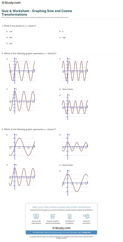 Quiz & Worksheet  Graphing Sine And Cosine Transformations Studycom