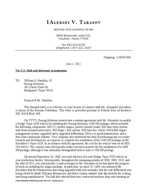 2011.06.01 - Demand Letter   Negligence   Misrepresentation
