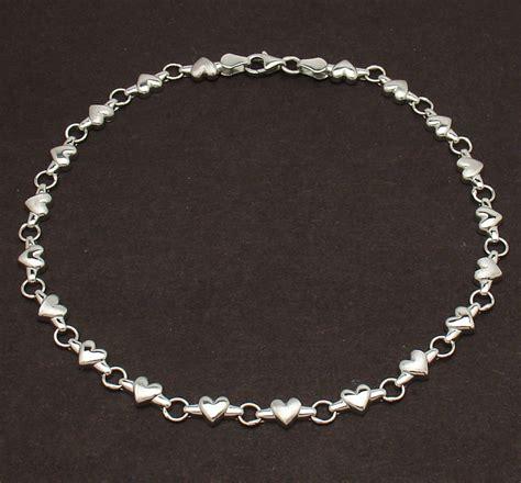 solid shiny satin heart link charm anklet ankle bracelet
