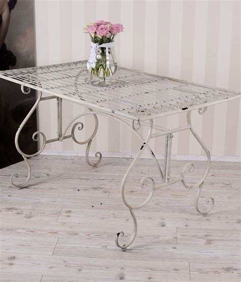white shabby chic table l dining table shabby chic garden garden table metal table white chsbahrain com