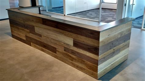 reclaimed wood reception desk made contemporary reclaimed wood and steel reception 4536