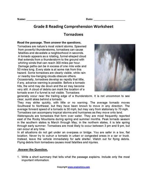 Reading Comprehension Worksheets 8th Grade Worksheets For All  Download And Share Worksheets