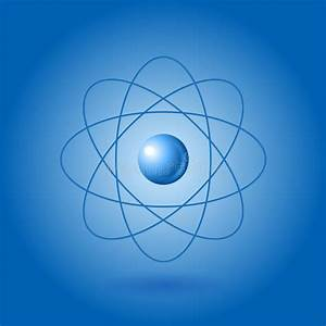 Orbital Model Of Atom On Blue Background Royalty Free Stock Photo