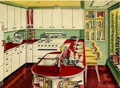 Retro Style Class Gender And Design In The Home Daniella On 25 Pastel Kitchens That Channel The 1950s That Vintage Wooden Kitchen Island Is Just Awesome And I Love The Way Pictures Of Kitchens Traditional Off White Antique Kitchen