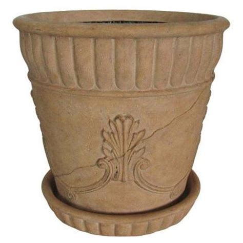 23 in diameter ivory acanthus pot with saucer